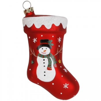 Suspension Botte Bonhomme de Neige (10 cm) - Verre