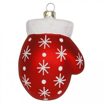 Suspension Gant de Noël Flocons (8 cm) - Verre