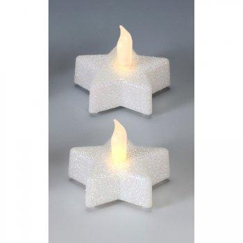 2 Bougies LED Etoile Blanche Glitter (6 cm)