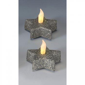 2 Bougie LED Etoile Argent Glitter (6 cm)