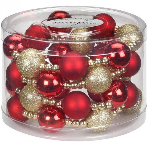 Guirlande Perles et Boules Rouge/Or (175 cm) - Plastique