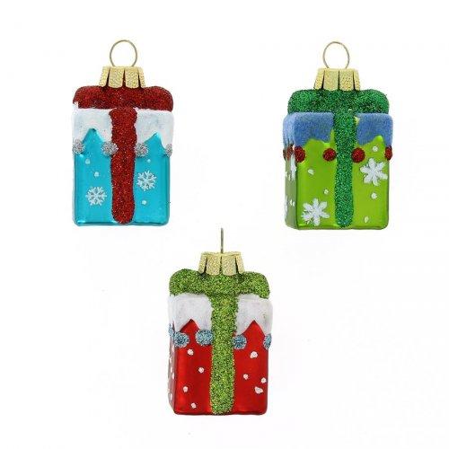3 Suspensions Cadeaux Rouge/Vert/Bleu (5 cm) - Verre