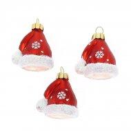 3 Suspensions Bonnet de Noël (5 cm) - Verre
