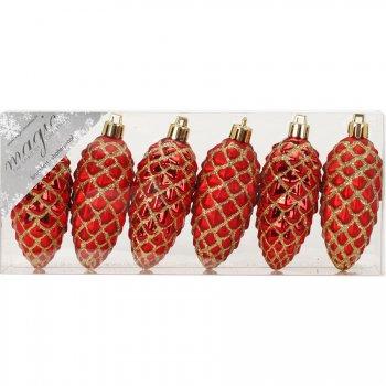 6 Suspensions Pommes de Pin Rouge/Or (7,5 cm) - Plastique