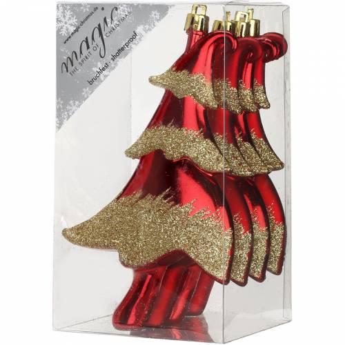 4 Suspensions Sapins Rouge/Or (14 cm) - Plastique