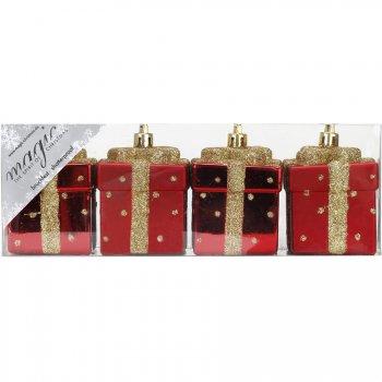 4 Suspensions Cadeaux Rouge/Or (6 cm) - Plastique