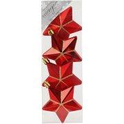 4 Suspensions Etoiles 3D Rouge/Or (7,5 cm) - Plastique