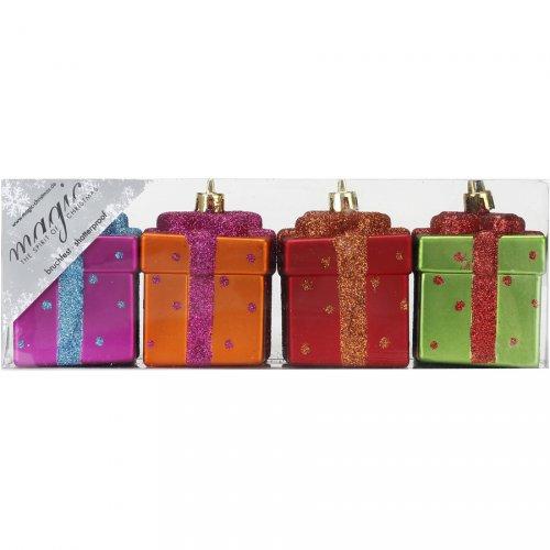 4 Suspensions Cadeaux Muticolore (5,5 cm) - Plastique