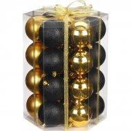 28 Boules Noir et Or (7 cm) - Verre