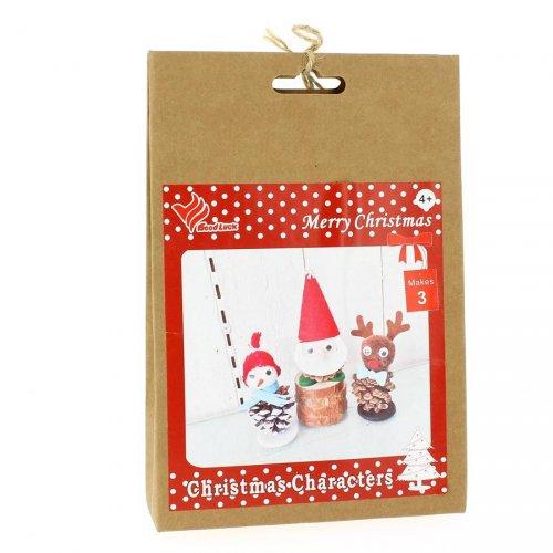 Kit Bricolage 3 Personnages Noël - Feutrine et Pommes de Pin