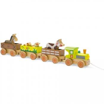 Baby Train et ses Animaux de la Ferme (47 cm) - Bois