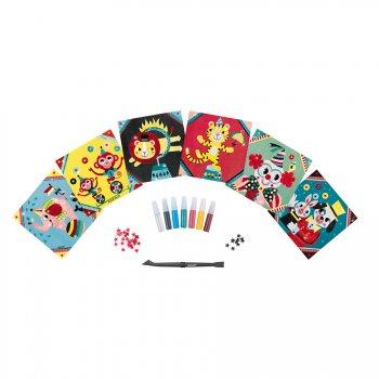 6 Cartes Paillettes Cirque + Valisette métal