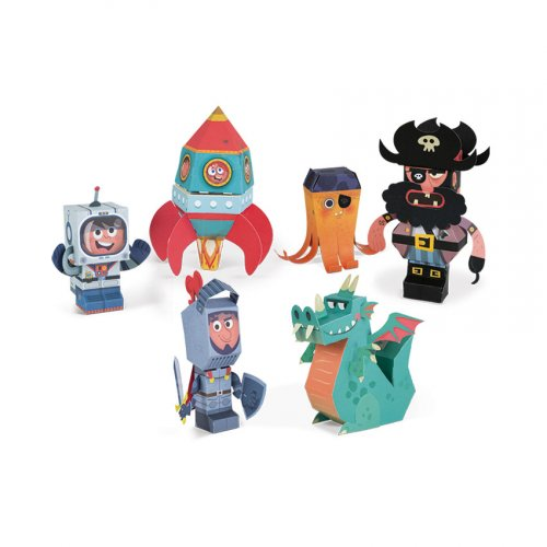 6 Figurines Paper Toys + Valisette carton