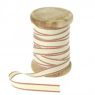 Ruban Coton Beige Bordure Rouge N°4