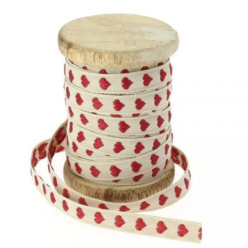 Ruban Coton Beige Coeurs rouges N°3
