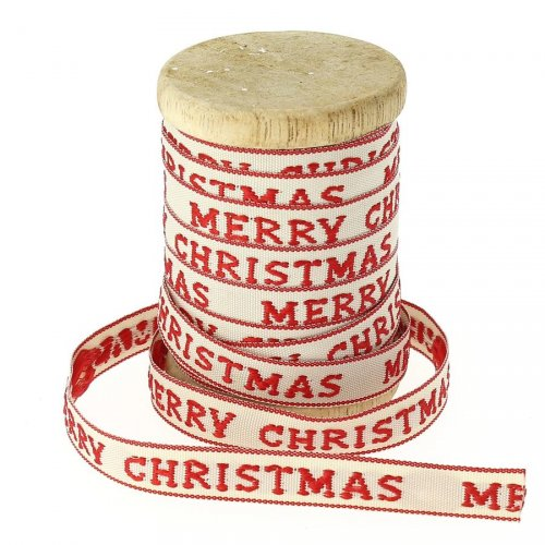 Ruban Coton  Beige et Rouge Merry Christmas N°5