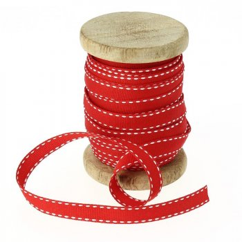 Ruban Coton Rouge piqué Blanc N°2