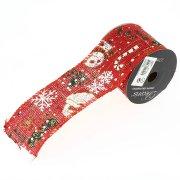 Ruban Large Jute Rouge Motifs Noël N°1