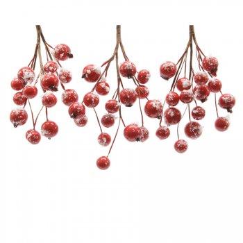 3 Branches de Baies Rouge Enneigés (14 cm)