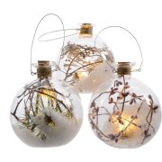 Boule Lumineuse LED Nature Enneigée (10 cm) - Verre