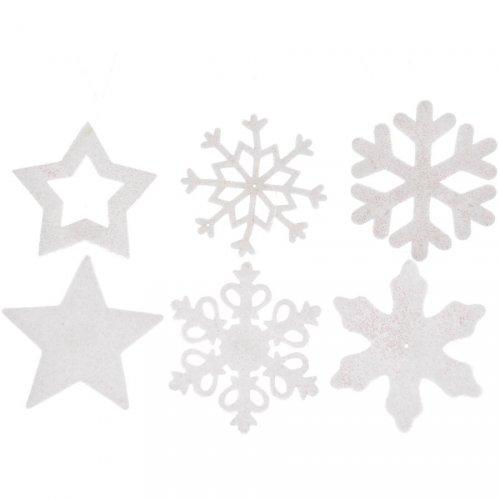 6 Suspensions Etoiles Flocons de Neige Glitter