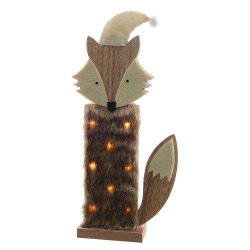 Déco Lumineuse Renard à LED (36 cm) - Bois