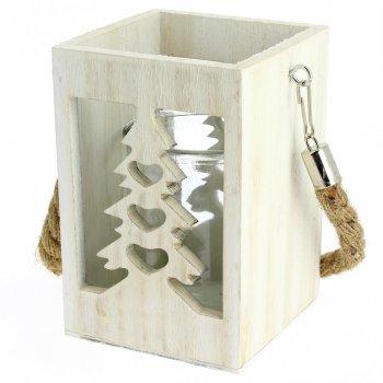 Photophore Lanterne Sapin (15 cm) - Bois et Corde
