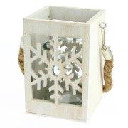 Photophore Lanterne Flocon (15 cm) - Bois et Corde