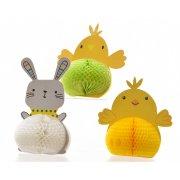 6 Déco Animaux de Pâques 3D (9,5 cm) - Papier