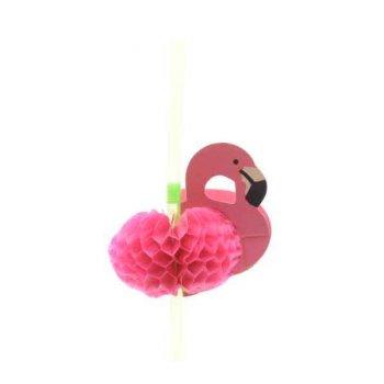 10 Pailles Flamant Rose 3D
