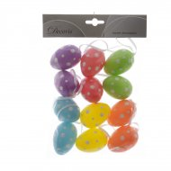 12 Suspensions Oeufs 5 Couleurs à Pois (6 cm) - Plastique