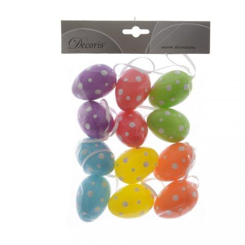 12 Suspensions Oeufs 5 Couleurs à Pois (6 cm) - Plastique