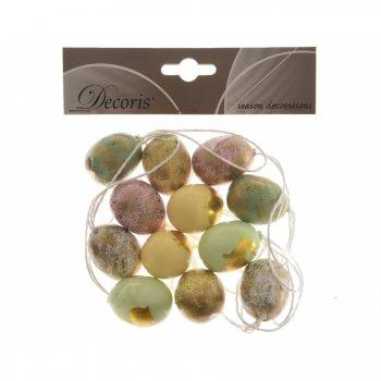 12 Suspensions Oeufs Pastel/Or Mini (3,5 cm) - Plastique