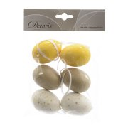 6 Suspensions Oeufs Nature Blanc/Jaune/Taupe (6 cm) - Plastique