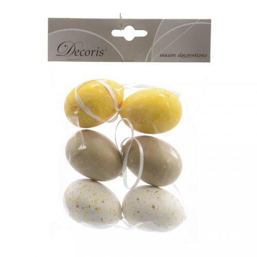 6 Suspensions Oeufs Nature Blanc/Jaune/Taupe (6 cm) - Plastique