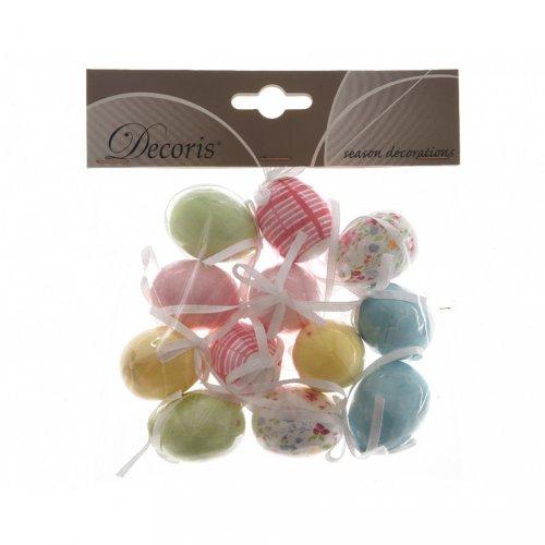 12 Suspensions Oeufs Fantaisie Pastels Mini (3,5 cm) - Plastique