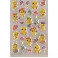 27 Stickers de Pâques Poussins et oeufs - Plastifié
