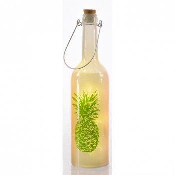 Bouteille Lumineuse LED Ananas (30 cm) - Blanc/Vert