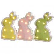 1 Lapin lumineux Pastel 8 Ampoules LED (24 cm) - Bois