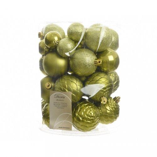 Assortiment 38 Boules Noël Vert Olive