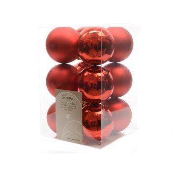 12 Boules Noël Rouge Mat/Miroir (5,5 cm) - Plastique