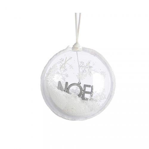 Boule  Convexe Déco Noël Argent (10 cm) - Verre