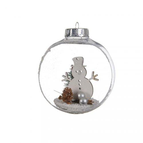 2 Boules Noël Ouvertes Bonhomme de Neige (10 cm) - Plastique
