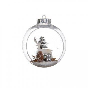 2 Boules Noël Ouvertes Renne (10 cm) - Plastique