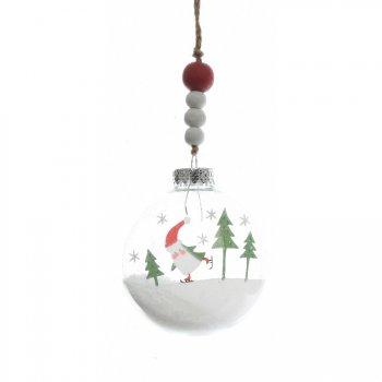 Boule Noël enneigé Père Noël (7 cm) - Plastique/Bois