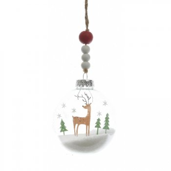Boule Noël enneigé Renne (7 cm) - Plastique/Bois