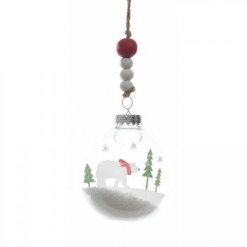 Boule Noël enneigé Ours blanc (7 cm) - Plastique/Bois