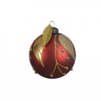 3 Boules Noël Rouge Feuilles Or (8 cm) - Verre