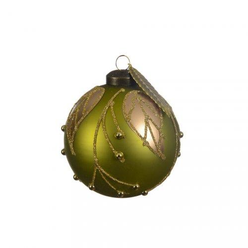 3 Boules Noël Vert Olive Feuille Or (8 cm) - Verre