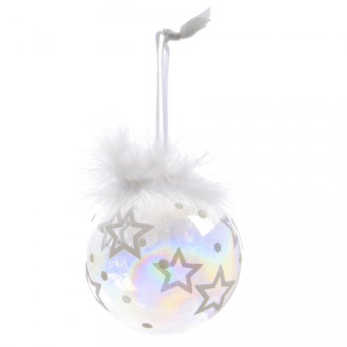 Boule Noël Bulle Etoile Plume (8 cm) - Verre